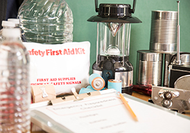 Emergency kit with lantern, batteries, first aid kit