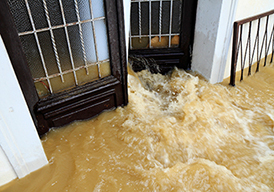 Floodwaters coming through an open door
