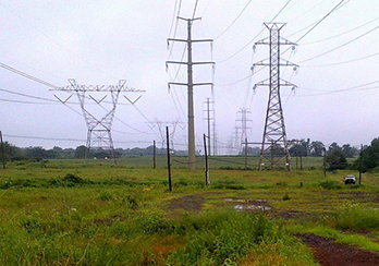 Transmission towers and lines in Rights of Way