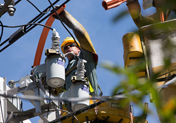 A PSE&G employee in a bucket lift examining utility wires