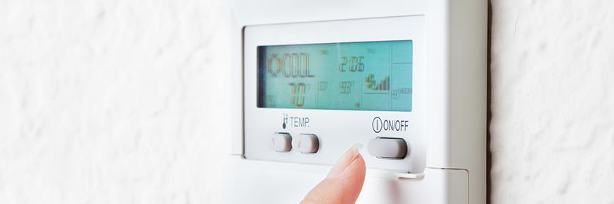 Image: Finger pushing a button on a programmable thermostat