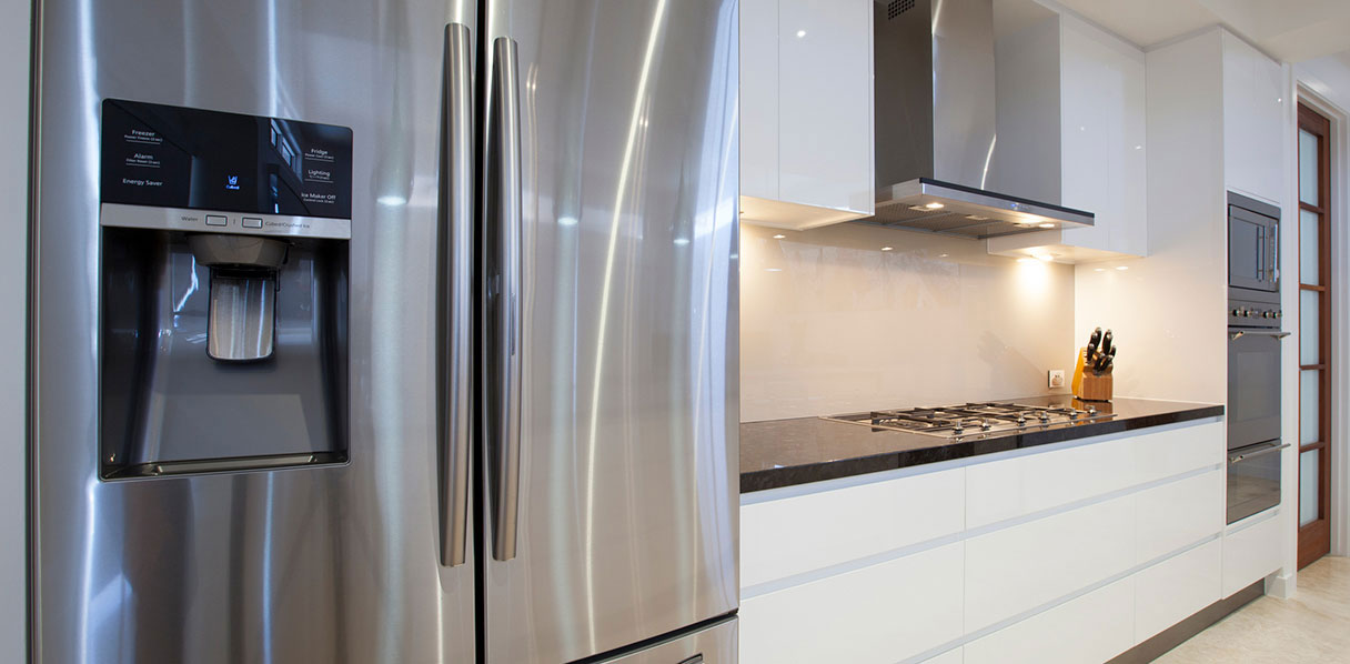 Stainless steel refrigerator in a kitchen