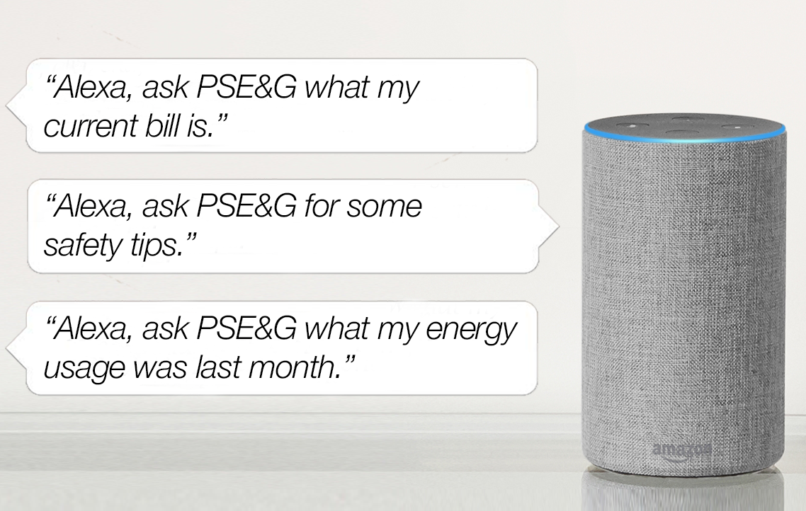 Easily interact with us (PSE&G) in real time to get the information you need and want by simply asking Alexa.