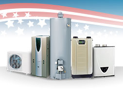 A variety of furnaces, boilers and hot water heaters are shown.