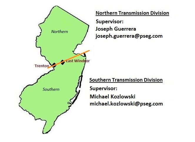 A map of New Jersey showing the different regions for PSE&G's transmission tree trimming program